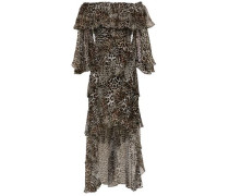 Off-the-shoulder Tiered Leopard-print Silk-chiffon Dress Animal Print Size 14
