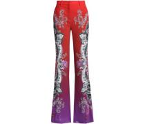 Printed crepe flared pants