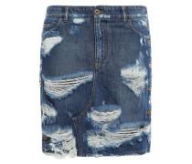 Distressed Denim Mini Skirt Mid Denim