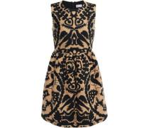 Woman Flared Embroidered Felt Mini Dress Sand
