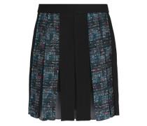 Pleated crepe and tweed mini skirt