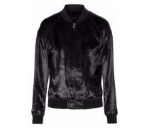Crushed-velvet bomber jacket