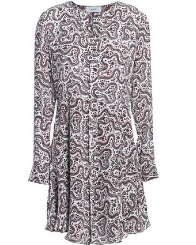 Pleated printed silk mini dress