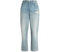 Ivy Cropped Distressed High-rise Straight-leg Jeans Light Denim  5