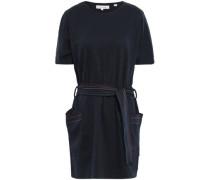 Belted Cotton-jersey Mini Dress Midnight Blue
