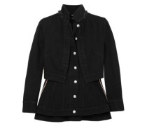 Layered Grosgrain-trimmed Denim Jacket Black