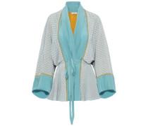 Printed Silk Crepe De Chine Kimono Turquoise  /M