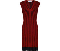 Ribbed Merino Wool And Silk-blend Dress Red