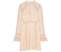 Crochet-trimmed Chantilly Lace Mini Dress