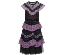 Ruffled Lace-trimmed Embroidered Tulle Dress Charcoal