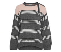 Bead-embellished striped cashmere sweater
