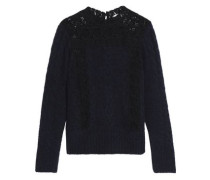 Corded lace-paneled brushed cable-knit sweater