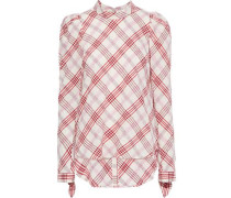 Isabel Embroidered Checked Cotton-blend Top Multicolor