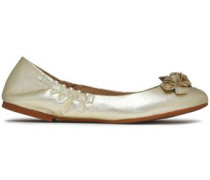 Floral-appliquéd metallic leather ballet flats