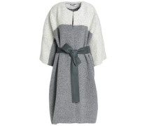 Belted two-tone wool-blend bouclé coat