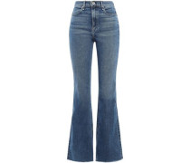 Faded High-rise Flared Jeans Mid Denim  8