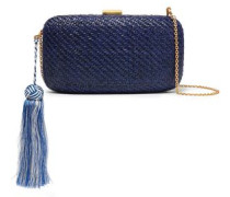 Charlotte Tassel-embellished Woven Straw Clutch Royal Blue Size --