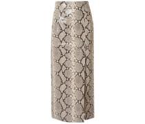 Snake-effect Leather Midi Skirt Animal Print