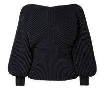 Wrap-effect Ribbed-knit Sweater Navy