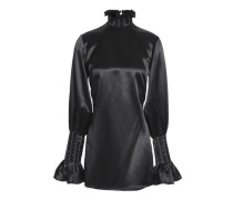 Ruffle-trimmed Satin-crepe Blouse Black Size 0