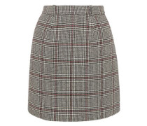 Prince Of Wales Checked Wool-blend Mini Skirt Gray