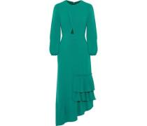 Asymmetric cutout ruffled crepe midi dress