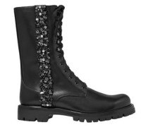 Woman Kadesha Crystal-embellished Glossed-leather Ankle Boots Black