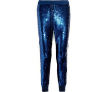 Lace-trimmed sequined silk-georgette track pants