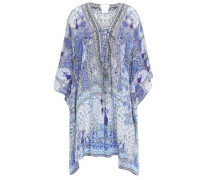 Embellished Lace-up Silk Crepe De Chine Kaftan Light Blue Size ONESIZE