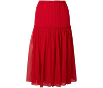 Gathered Silk-chiffon Midi Skirt Crimson