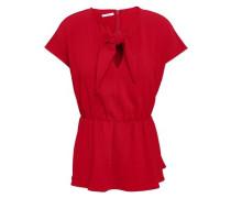 Knotted Cady Peplum Top Crimson