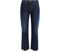 Two-tone mid-rise straight-leg jeans
