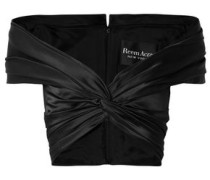 Off-the-shoulder Knotted Silk-satin Top Black