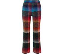 Checked mohair-blend bootcut pants