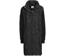 Satin-paneled Wool-blend Coat Black