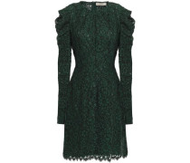 Woman Scalloped Cotton-blend Corded Lace Mini Dress Dark Green