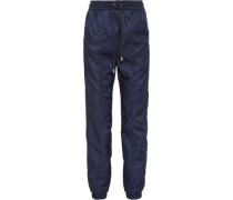 Ruched Satin Track Pants Midnight Blue