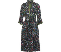 Belted Tie-neck Pleated Floral-print Crepe Dress Midnight Blue