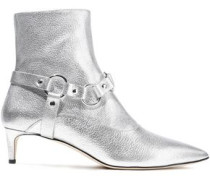 Davidson Metallic Textured-leather Ankle Boots Silver