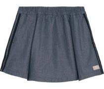 Perforated chambray mini skirt