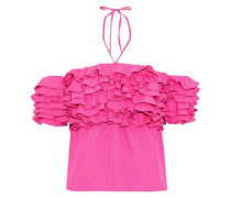 Cha Cha Off-the-shoulder Ruffled Voile Halterneck Top Fuchsia