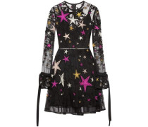 Woman Belted Embellished Tulle Mini Dress Black