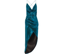 Holly Asymmetric Wrap-effect Silk-satin Midi Slip Dress Turquoise