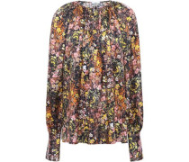 Gathered Floral-print Silk-satin Blouse Black