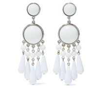 Bead, resin and silver-tone earrings