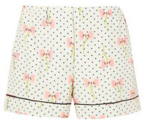 Printed Silk Crepe De Chine Shorts Ivory