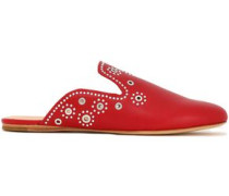 Grace eyelet-embellished studded leather slippers