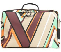 Printed textured-leather suitcase