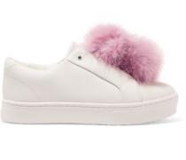 Leya faux fur-trimmed leather slip-on sneakers