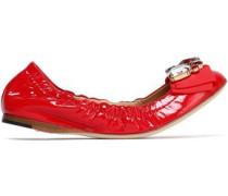 Embellished patent-leather ballet flats